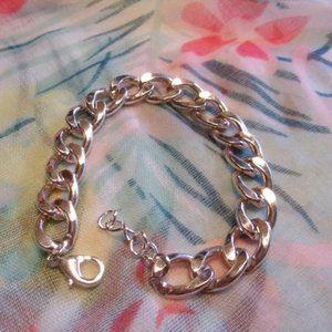 Chunky Silver Tone Curb Chain Bracelet